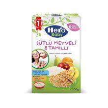 غذای کمکی هیرو بیبی با طعم ۸ غله و میوه ای همراه با شیر ترکیه ۲۰۰ گرمی
