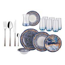 سرویس ظروف ۶۶ پارچه روزمره نوا مدل Yakamoz Ritim